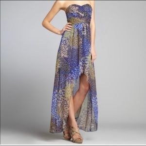 Max & Cleo High low Peacock Print Strapless Dress